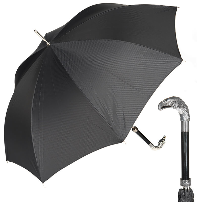 Зонт-трость Pasotti Eagle Silver StripesS Black