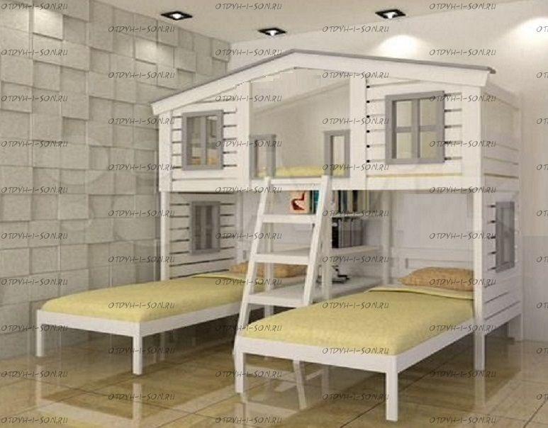 Кровать трехъярусная домик Roof Fantazy