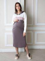 """Платье """"Ева"""" с капюшоном, рукава длинные джерси какао/молочный/пудра"""