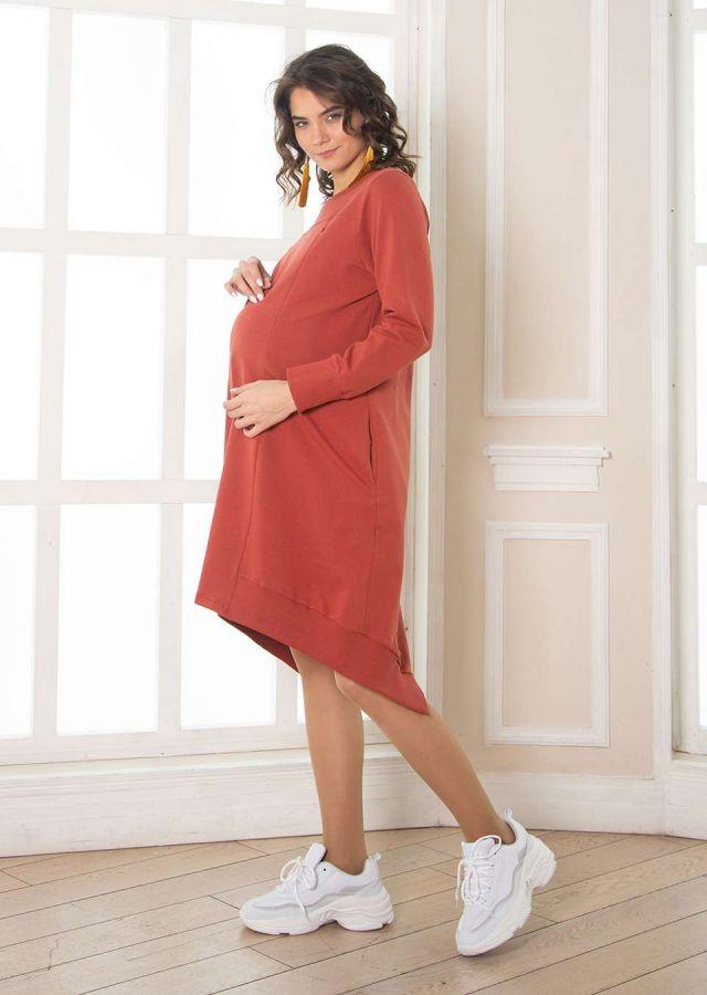 """Платье """"Оливия"""" для беременных и кормящих трикотаж корица"""