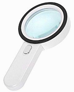 Лупа ручная круглая 30x-105мм с подсветкой