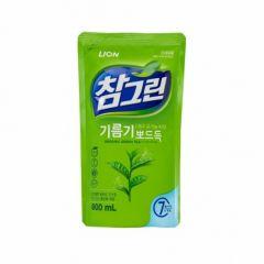 026190 LION Жидкость для мытья посуды с запахом зеленого чая Chamgreen 800g refill