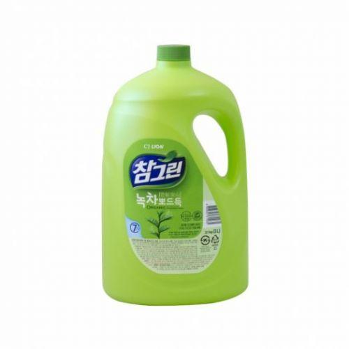 611035 LION Жидкость для мытья посуды с запахом зеленого чая Chamgreen 3.1kg bottle