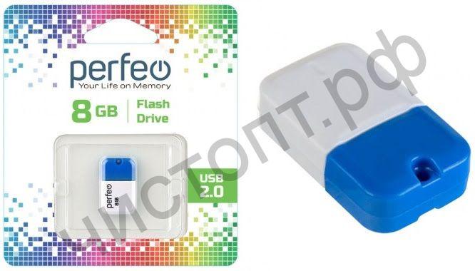 флэш-карта Perfeo 8GB M04 Blue мини брелок