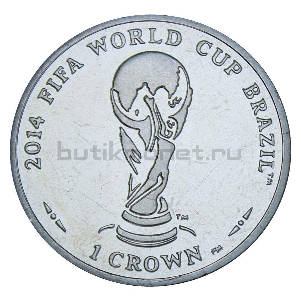 1 крона 2012 Остров Мэн Чемпионат мира по футболу 2014 в Бразилии