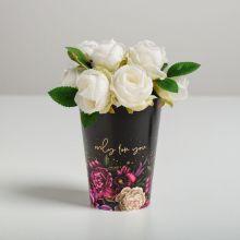 Стаканчик для цветов Only for You, черный, 13 х 9 см