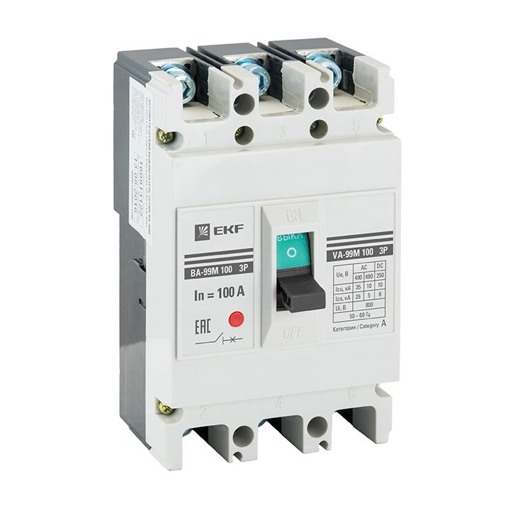 EKF Автоматический выключатель ВА-99М 100/63А 3P 20кА  mccb99-100-63m