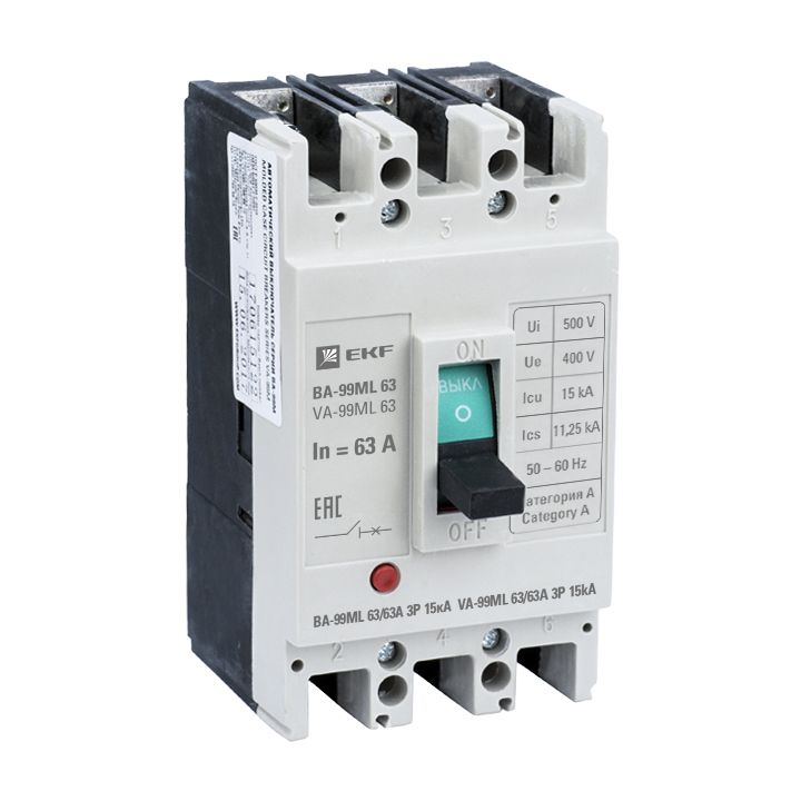 Автоматический выключатель ВА-99М 63/63А 3P 15кА EKF Basic