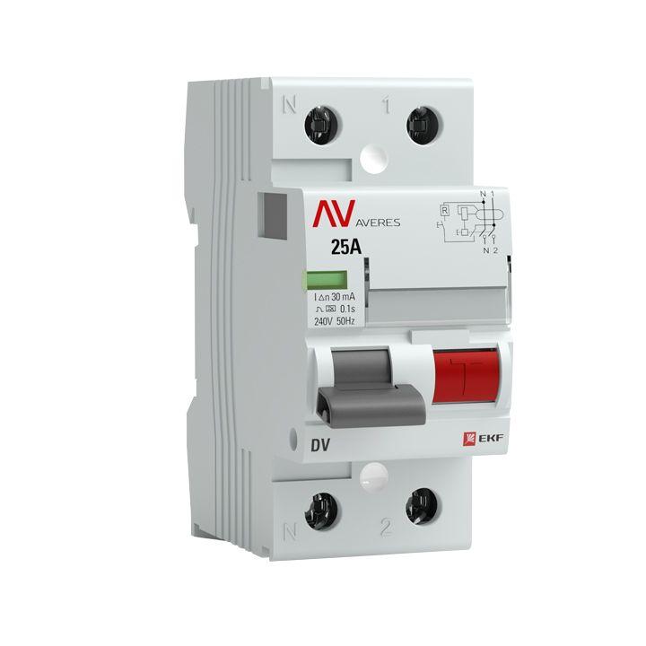 Устройство защитного отключения DV 2P  63А/ 30мА (AC) EKF AVERES