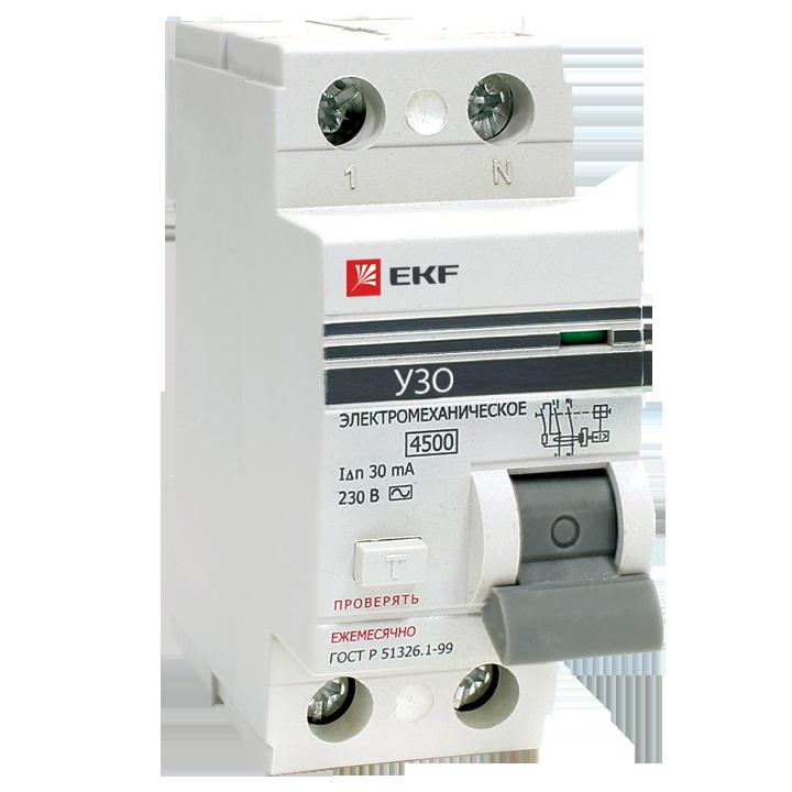 EKF Устройство защитного отключения УЗО ВД-100 2P 63А/100мА (электромеханическое) EKF PROxima