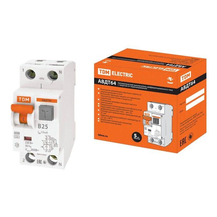 Дифференциальный автоматический выключатель TDM АВДТ64 SQ0205-0007