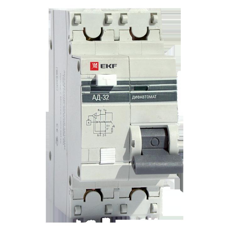 EKF PROxima диф. автомат АД-32 1P+N 40А/300mA хар-ка C, УЗО типа AC, электрон. 4,5кА DA32-40-300-pro
