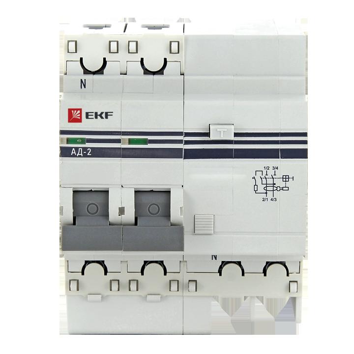 EKF PROxima диф. автомат АД-2 25А/30mA хар-ка C, УЗО типа AC, электрон. 4,5кА DA2-25-30-pro