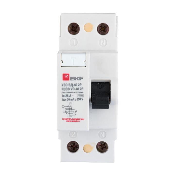 EKF Устройство защитного отключения УЗО ВД-40 2P 63А/300мА (электронное) Basic elcb-2-63-300e-sim