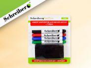 Набор маркеров для белой доски, 4 шт., с губкой в блистере 15х18 см (арт. S 3633)