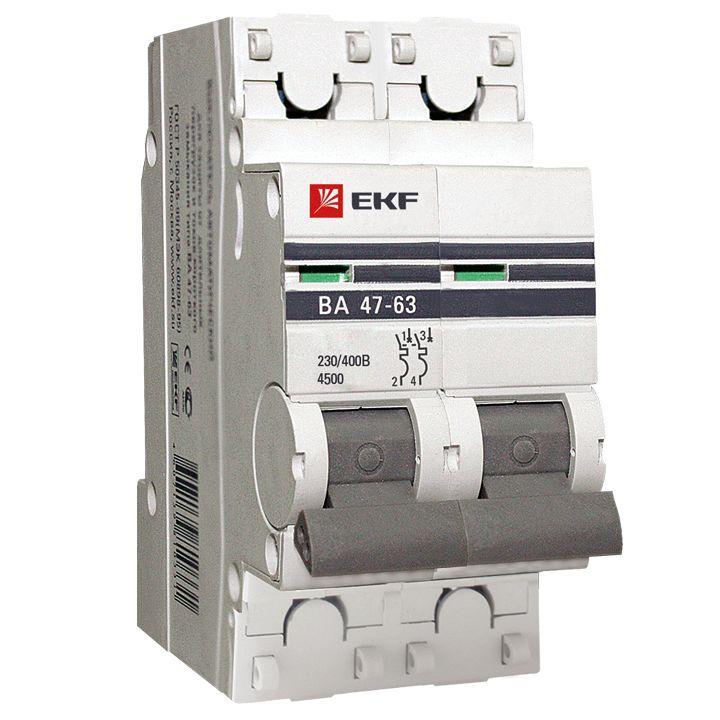 EKF Автоматический выключатель ВА47-63, 2P 3А (C) 4,5kA EKF PROxima