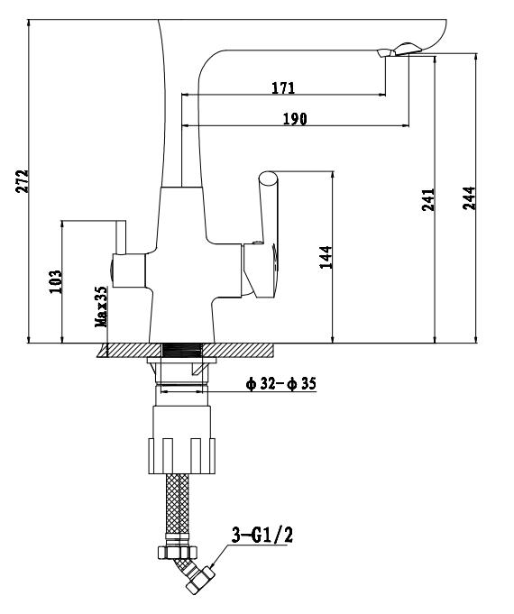 Смеситель для кухни с выходом под  фильтр Ewigstein 3223515 Антрацит