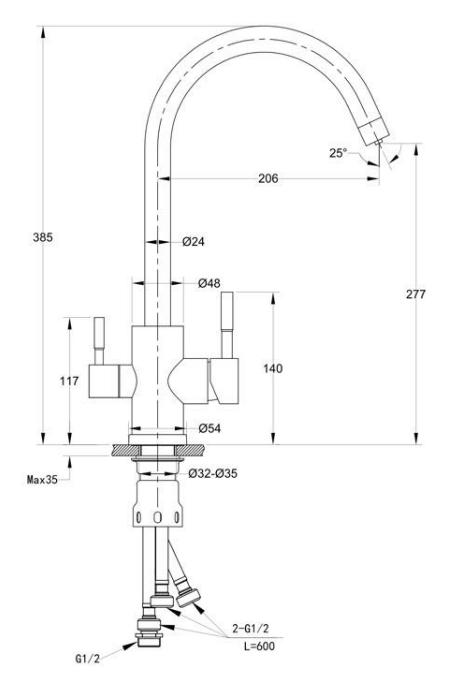 Смеситель для кухни с выходом под фильтр Ewigstein 3423516 Темно-бежевый