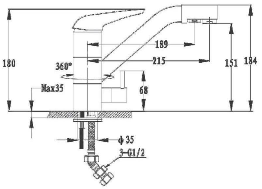 Смеситель для кухни с выходом под фильтр GranFest Мрамор GF2624-1 Иней