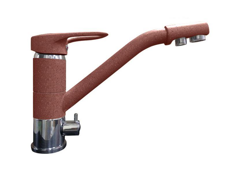 Смеситель для кухни с выходом под фильтр GranFest Мрамор GF2624-1 Красный марс
