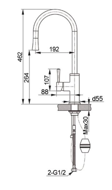 Смеситель для кухни с выдвижной лейкой GranFest мрамор GF7652 Песочный