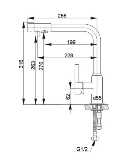 Смеситель для кухни с выходом под фильтр GranFest Мрамор GF7671 Топаз