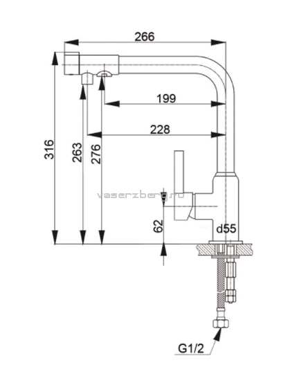 Смеситель для кухни с выходом под фильтр GranFest Мрамор GF7671 Терракот