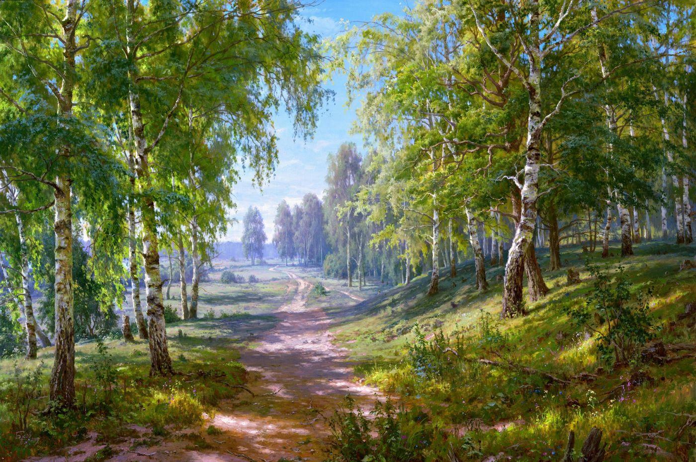 Картина по номерам на подрамнике GX32842, Басов Сергей, Березовая роща