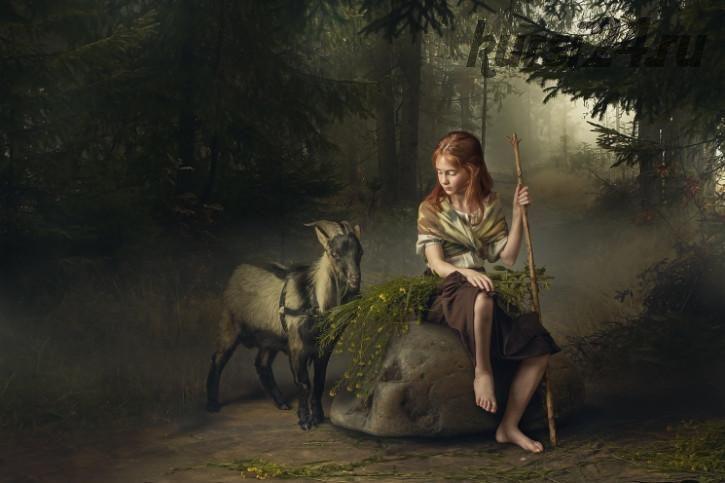 Девочка с козой / Girl with goat&flowers (Дмитрий Усанин) на английском