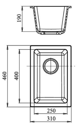 Кварцевая подстольная мойка Ewigstein EW2540 Серый металлик