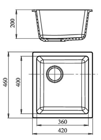 Кварцевая подстольная мойка Ewigstein EW3540 Черный