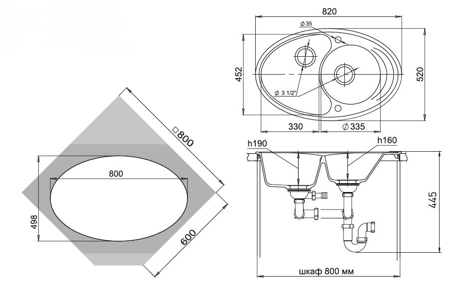 Кварцевая угловая мойка Ewigstein Elegant  W90KF Серый Металлик