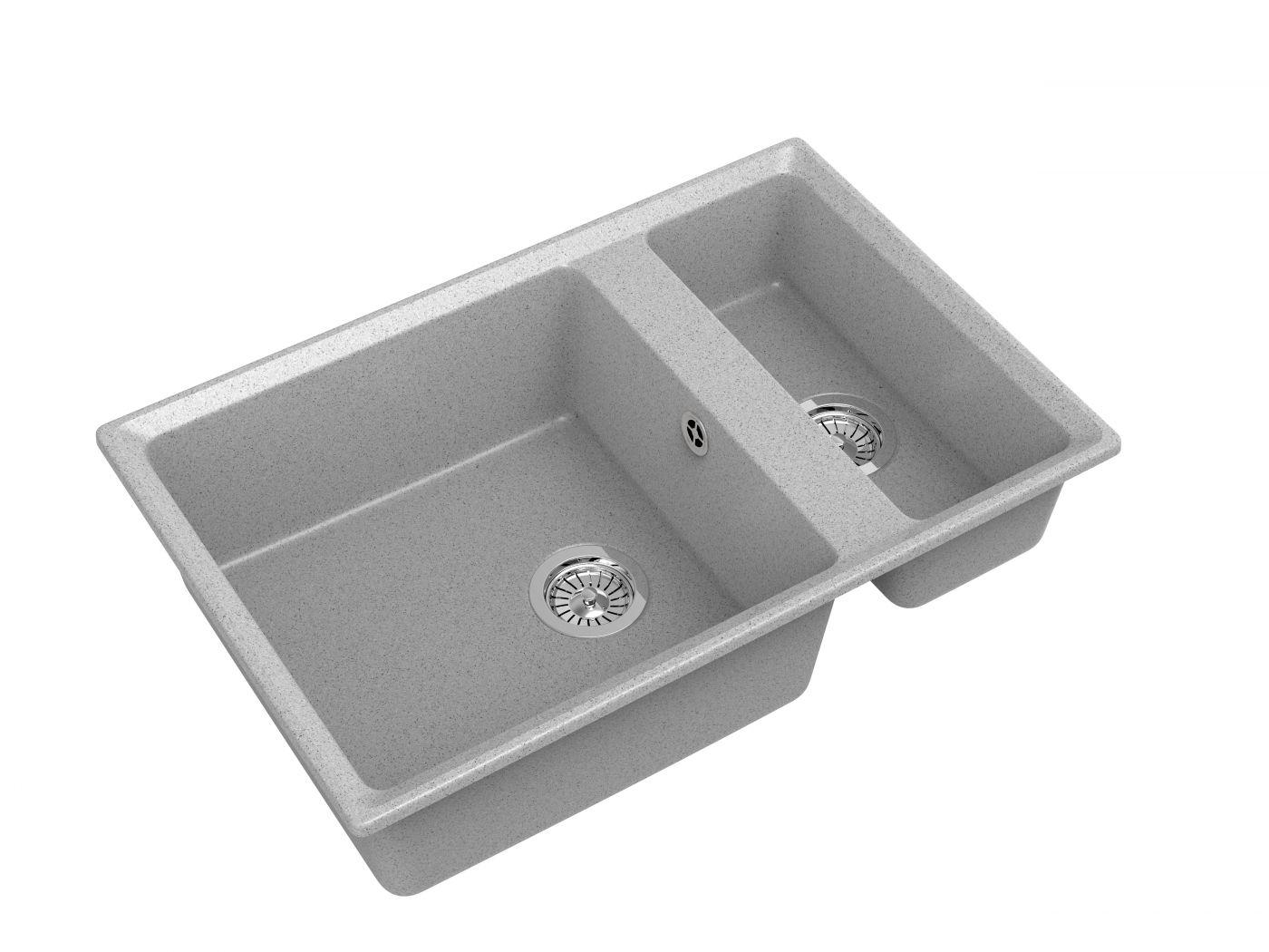 Мраморная мойка для кухни GranFest Level GF-LV760K Серый