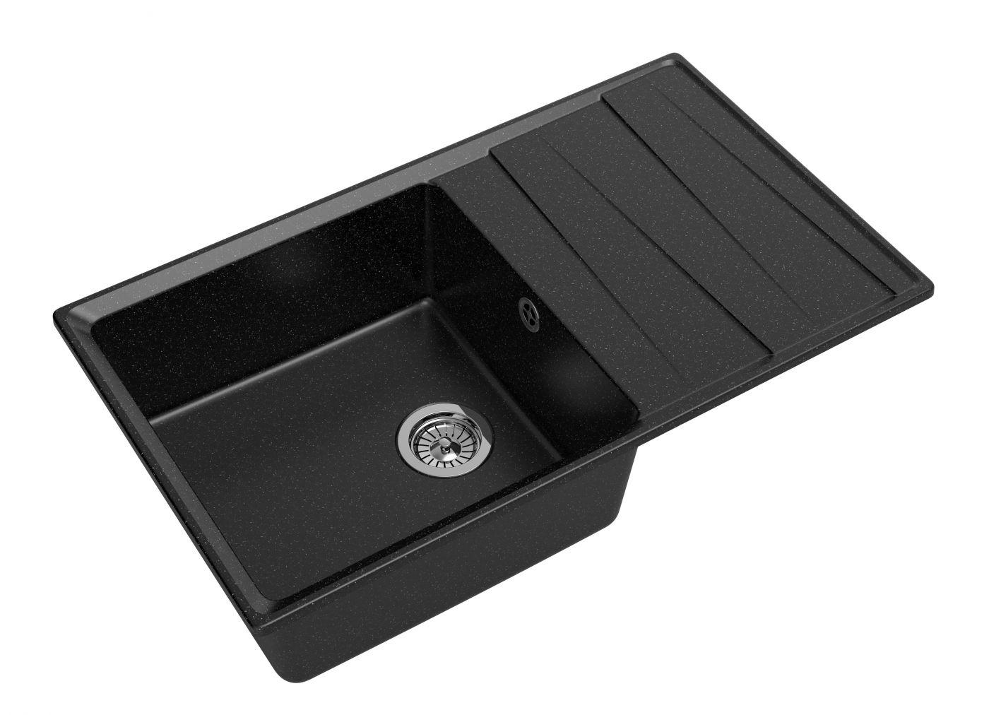 Мраморная мойка для кухни GranFest Level GF-LV860L Черный