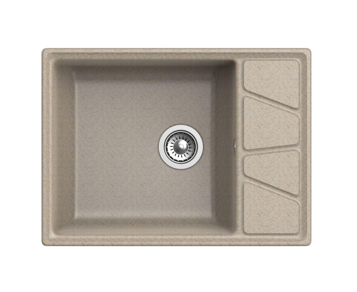 Мраморная мойка для кухни GranFest Vertex GF-V680L Песочный