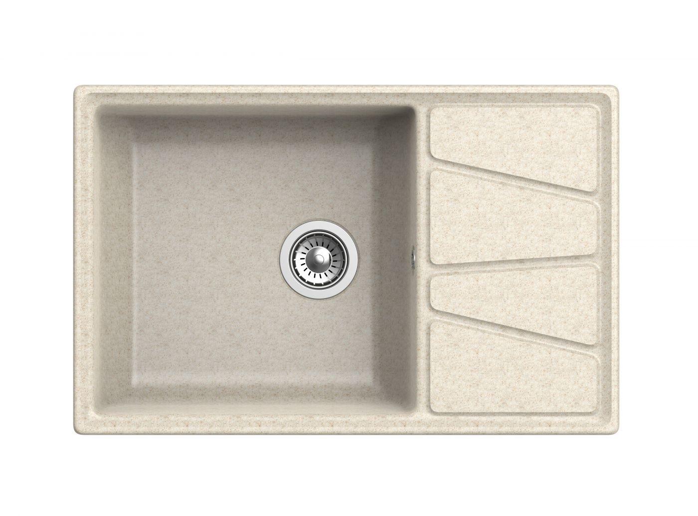 Мраморная мойка для кухни GranFest Vertex GF-V780L Бежевый