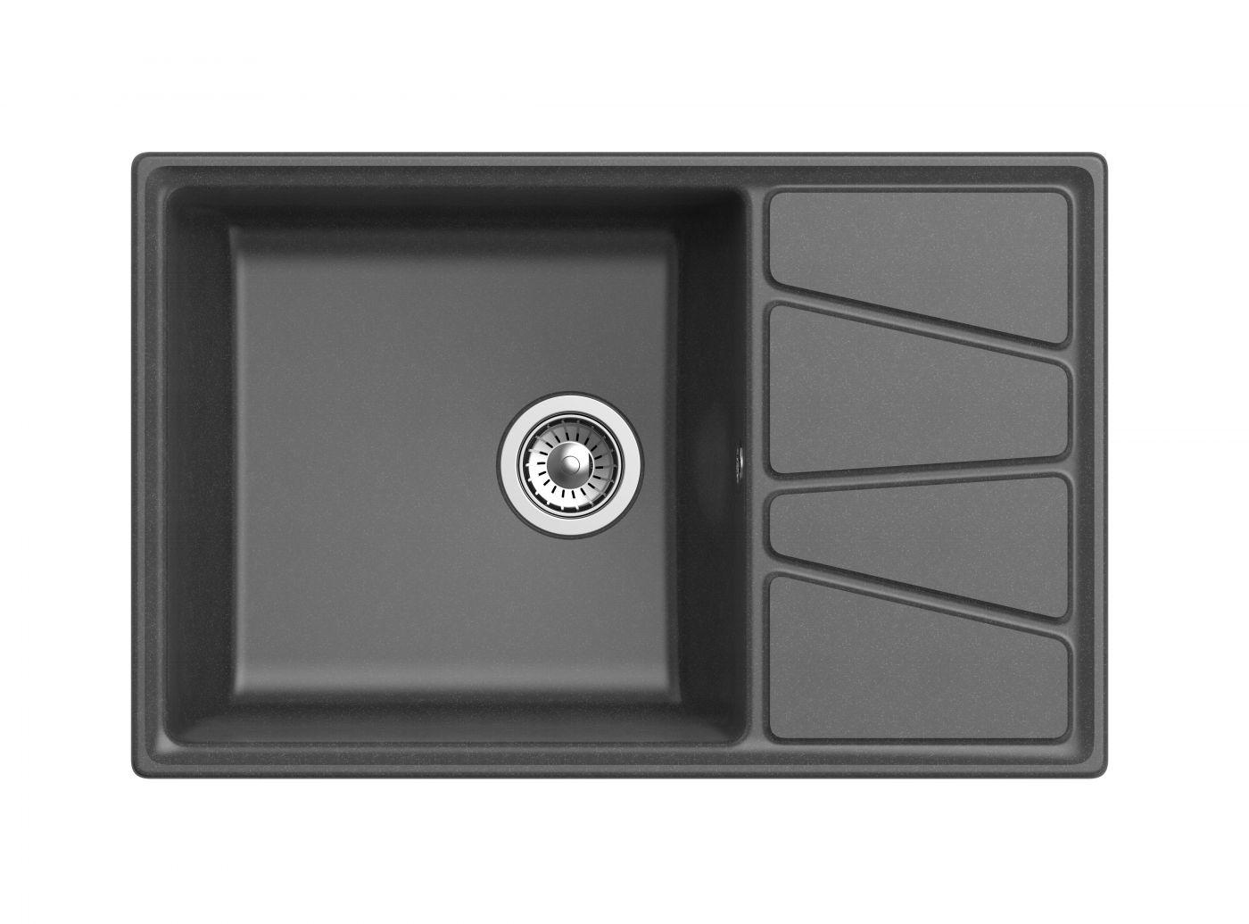 Мраморная мойка для кухни GranFest Vertex GF-V780L Графит
