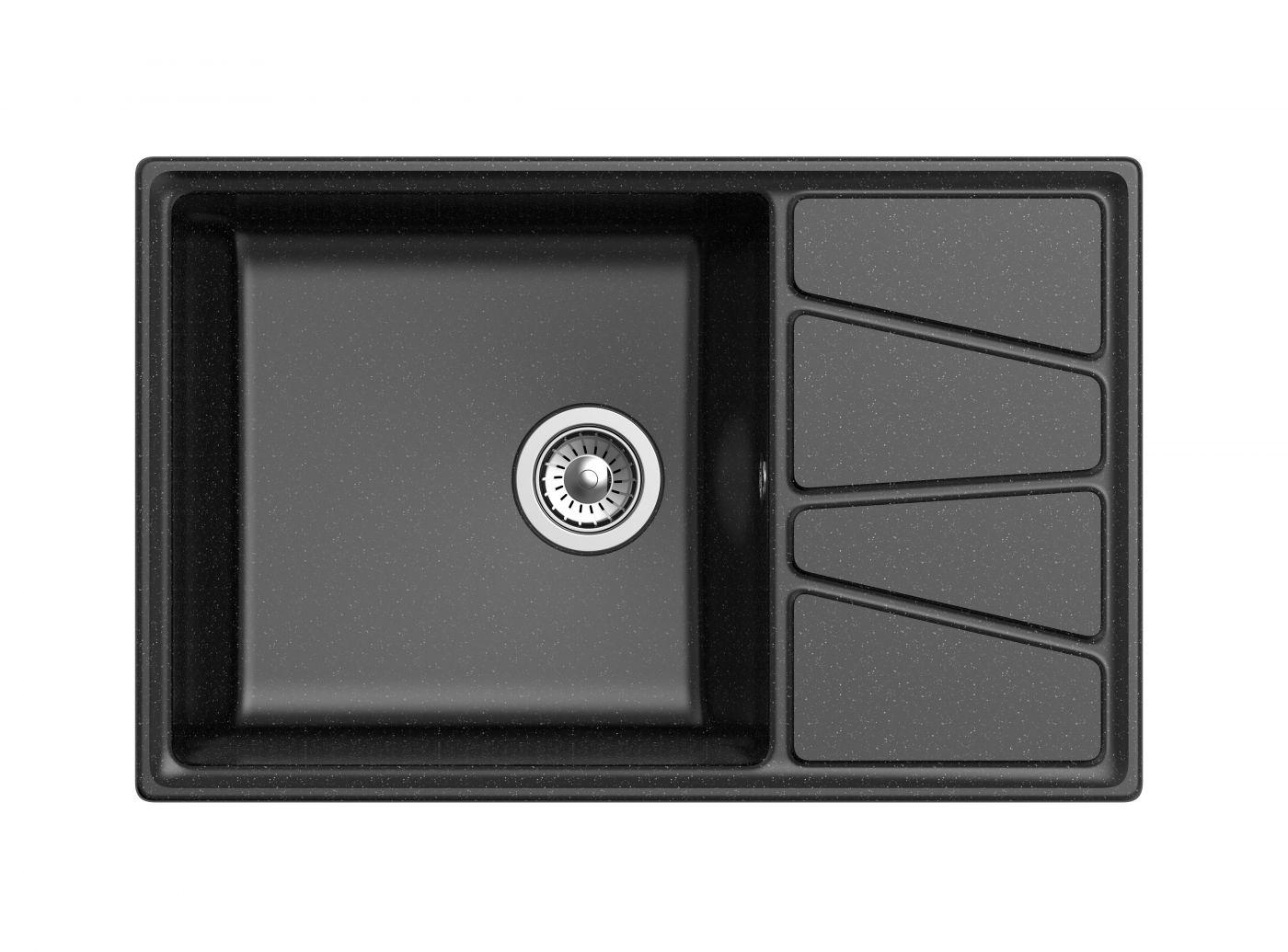 Мраморная мойка для кухни GranFest Vertex GF-V780L Черный