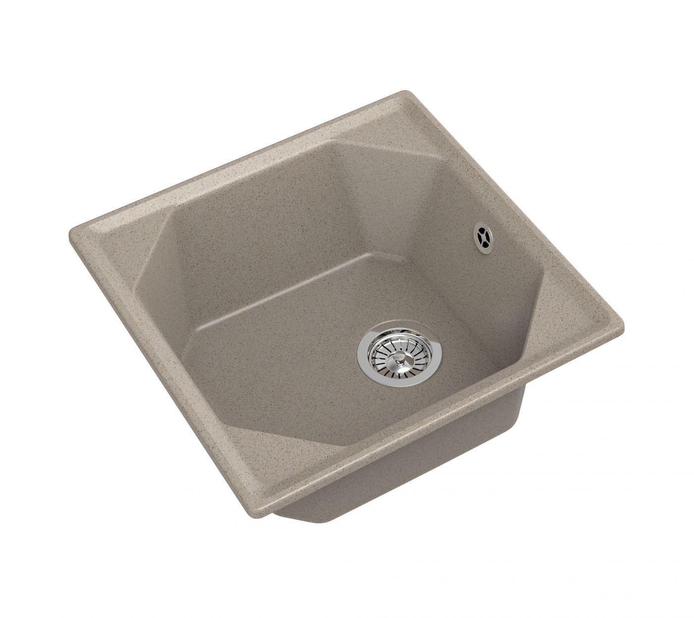 Мраморная мойка для кухни GranFest Unique GF-U500 Песочный