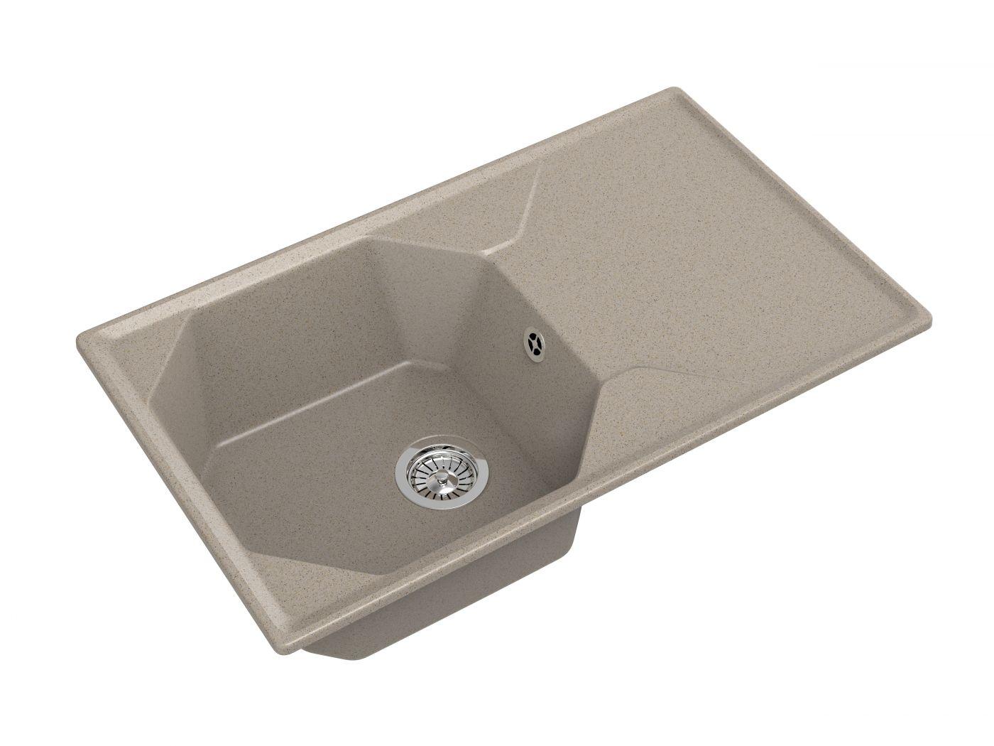 Мраморная мойка для кухни GranFest Unique GF-U840L Песочный