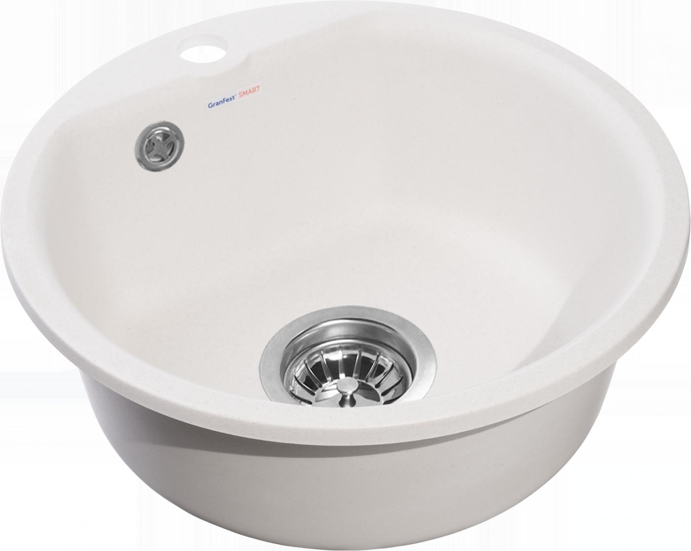 Мраморная мойка для кухни GranFest Smart SM435 Белый