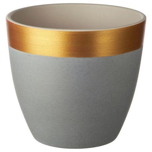 LIMEPEPPAR ЛАЙМПЕППАР, Горшок цветочный, серый/золотой полоска, 19 см - 204.679.74