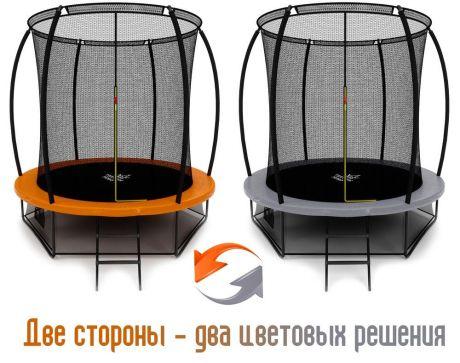 Батут Триумф Норд Премиальный 244 см серый/оранжевый с лестницей