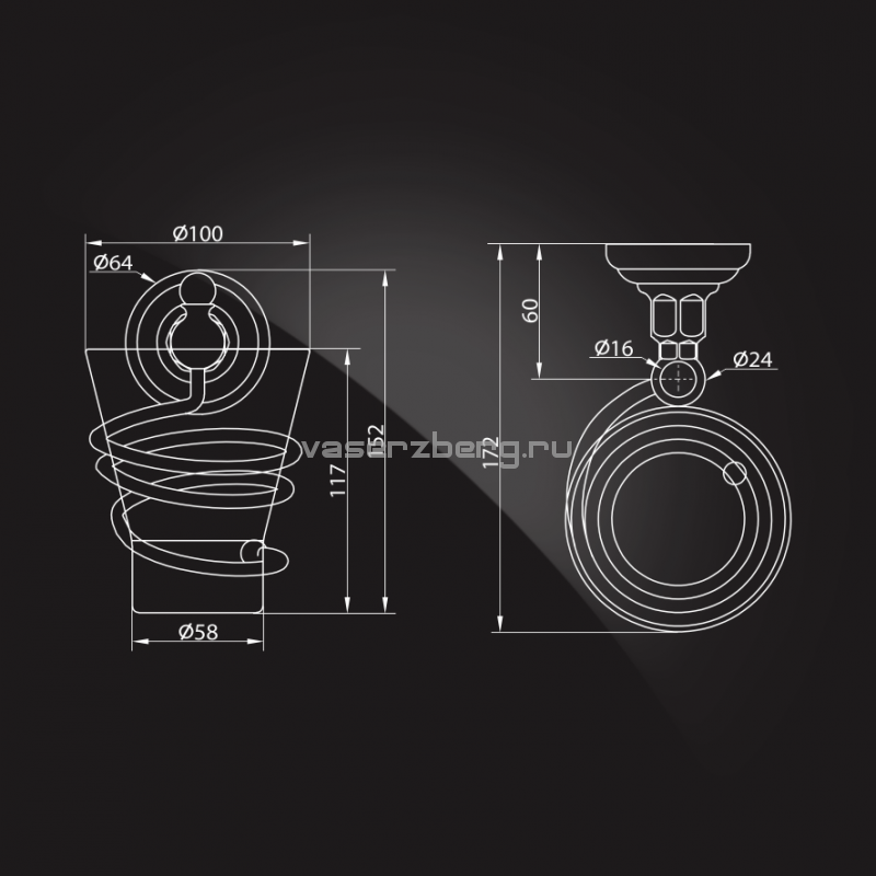 Стакан для ванной с держателем Elghansa Praktic PRK-413 Bronze