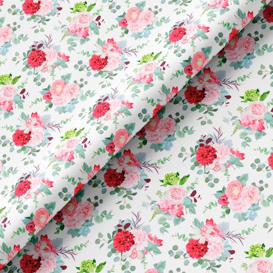 Хлопок Перкаль - Розовые букеты 50х37