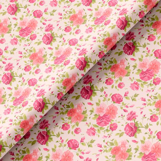 Хлопок Перкаль - Розы на нежно-розовом 50х37