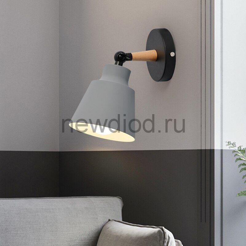 Светильник настенный WALL 13G под лампу E27 на основании МЕТАЛЛ СЕРЫЙ OREOL