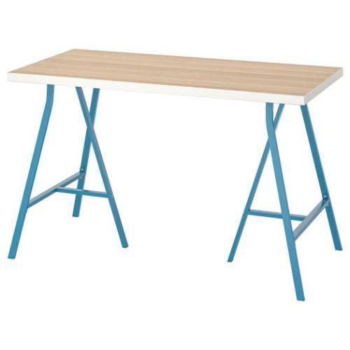 LINNMON ЛИННМОН / LERBERG ЛЕРБЕРГ, Стол, белый под беленый дуб/синий, 120x60 см - 193.308.21