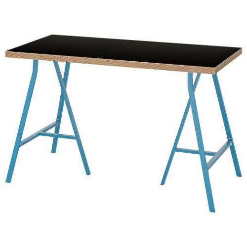 LINNMON ЛИННМОН / LERBERG ЛЕРБЕРГ, Стол, черный фанера/синий, 120x60 см - 193.308.35