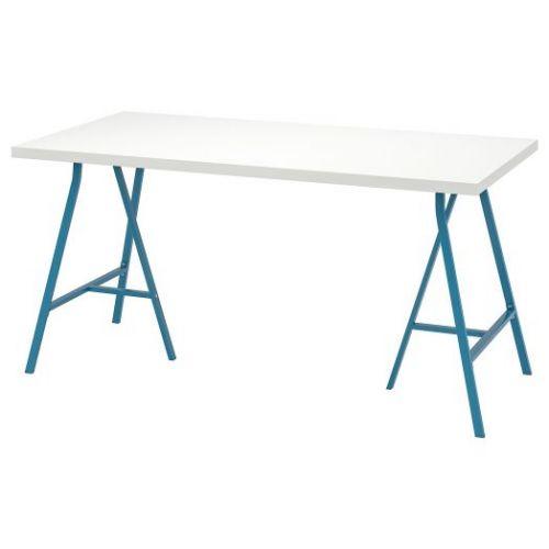 LINNMON ЛИННМОН / LERBERG ЛЕРБЕРГ, Стол, белый/синий, 150x75 см - 093.309.54